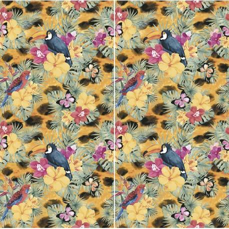 Carrelage sol et mur en grès cérame motif Sauvage Toucan