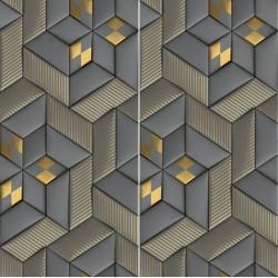 Carrelage sol et mur en grès cérame émaillé Motif 3D Or et Marron