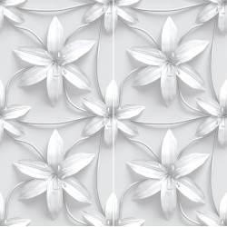 Carrelage sol et mur en grès cérame émaillé Motif 3D Lys
