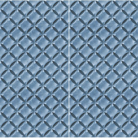 Carrelage sol et mur en grès cérame motif 3D Fleur Bleue