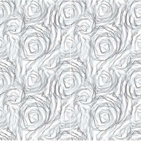 Carrelage sol et mur en grès cérame émaillé Motif Rose black and white
