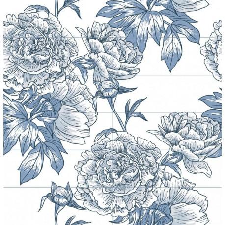 Carrelage mural en faïence Fresque Fleur bleue