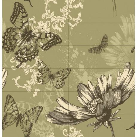 Carrelage mural en faïence Fresque Papillons