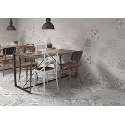 Carrelage sol et mur en grès cérame émaillé motif Urban gris