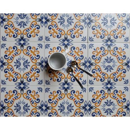 Carrelage sol et mur en grès cérame émaillé motif Antic Blanc